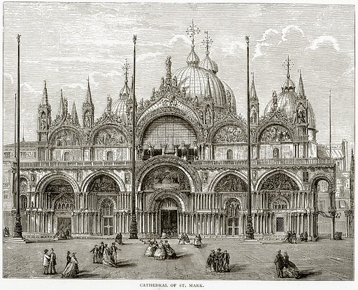 Cathedral of St. Mark. Illustration from Italian Pictures by Samuel Manning (Religious Tract Society, c 1880).
