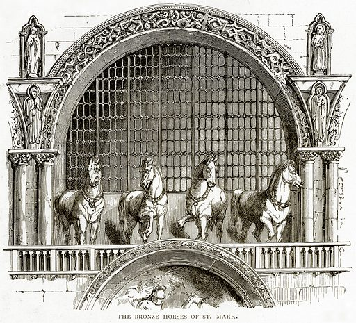 The Bronze Horses of St Mark. Illustration from Italian Pictures by Samuel Manning (Religious Tract Society, c 1880).