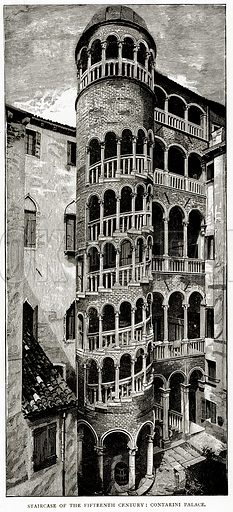 Staircase of the Fifteenth Century: Contarini Palace. Illustration from Italian Pictures by Samuel Manning (Religious Tract Society, c 1880).