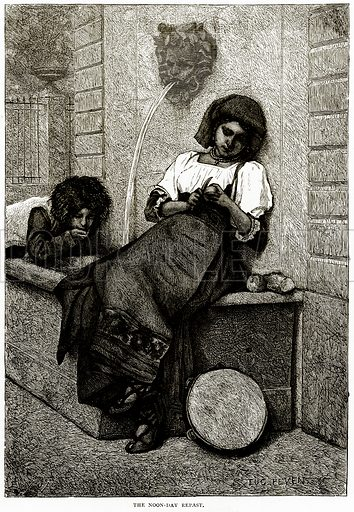 The Noon-Day Repast. Illustration from Italian Pictures by Samuel Manning (Religious Tract Society, c 1880).