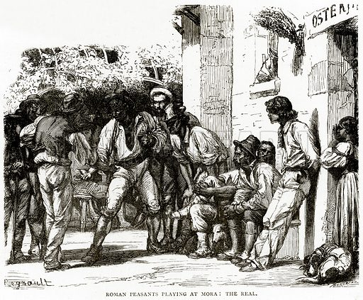 Roman Peasants playing at Mora: The Real. Illustration from Italian Pictures by Samuel Manning (Religious Tract Society, c 1880).