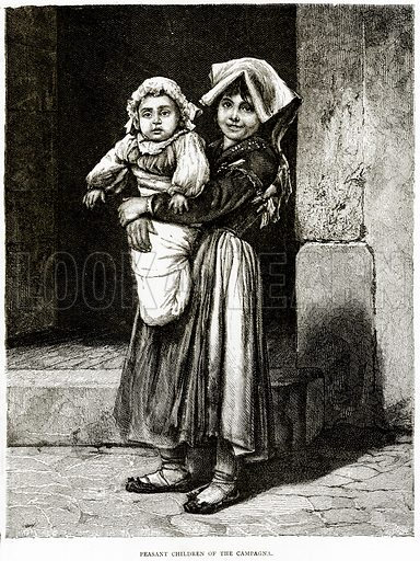 Peasant Children of the Campagna. Illustration from Italian Pictures by Samuel Manning (Religious Tract Society, c 1880).
