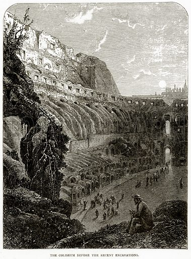 The Coliseum before the Recent Excavations. Illustration from Italian Pictures by Samuel Manning (Religious Tract Society, c 1880).