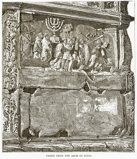 Frieze from the Arch of Titus. Illustration from Italian Pictures by Samuel Manning (Religious Tract Society, c 1880).