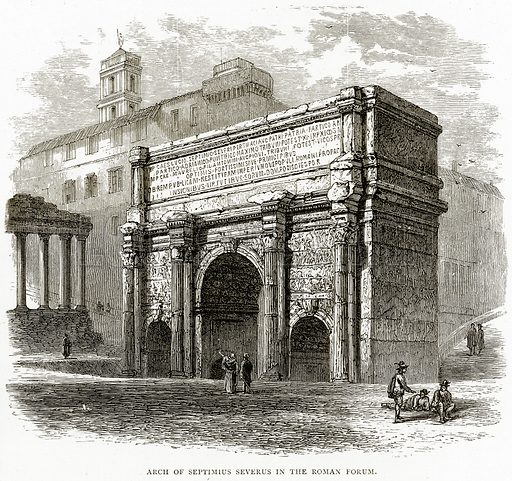 Arch of Septimius Severus in the Roman Forum. Illustration from Italian Pictures by Samuel Manning (Religious Tract Society, c 1880).