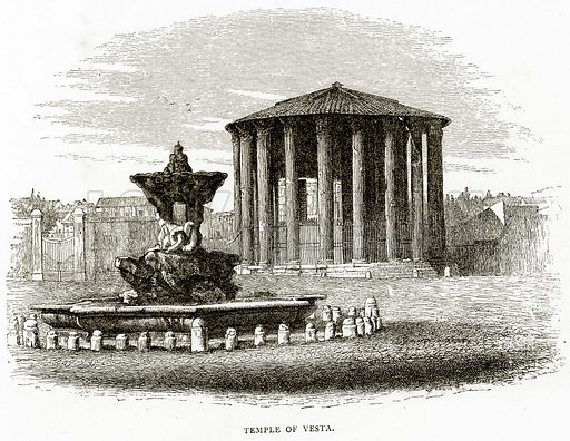 Temple of Vesta. Illustration from Italian Pictures by Samuel Manning (Religious Tract Society, c 1880).