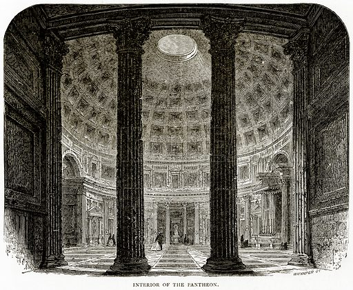 Interior of the Pantheon. Illustration from Italian Pictures by Samuel Manning (Religious Tract Society, c 1880).