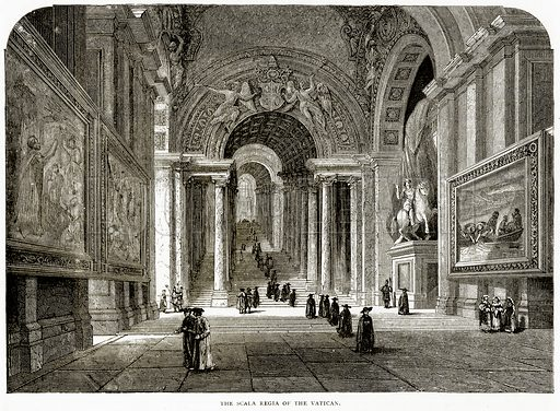The Scala Regia of the Vatican. Illustration from Italian Pictures by Samuel Manning (Religious Tract Society, c 1880).