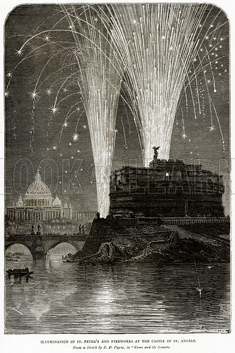Illumination of St Peter's and Fireworks at the Castle of St Angelo. Illustration from Italian Pictures by Samuel Manning (Religious Tract Society, c 1880).