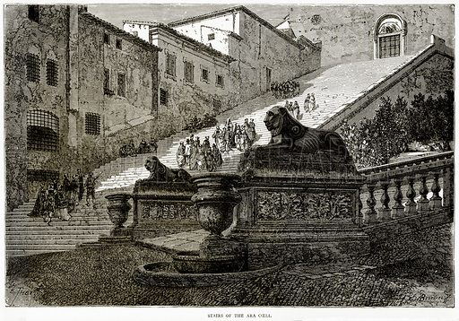 Stairs of the Ara Coeli. Illustration from Italian Pictures by Samuel Manning (Religious Tract Society, c 1880).