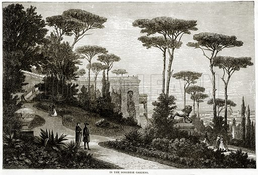 In the Borghese Gardens. Illustration from Italian Pictures by Samuel Manning (Religious Tract Society, c 1880).