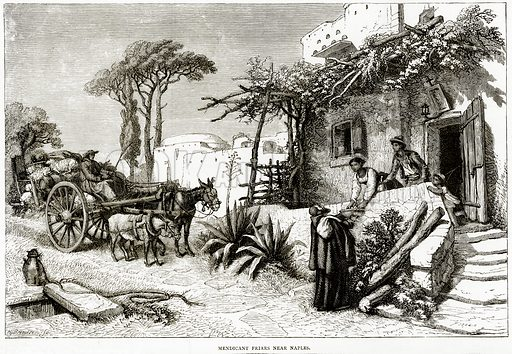Mendicant Friars near Naples. Illustration from Italian Pictures by Samuel Manning (Religious Tract Society, c 1880).
