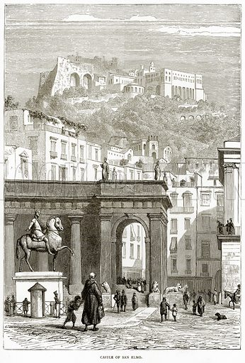 Castle of San Elmo. Illustration from Italian Pictures by Samuel Manning (Religious Tract Society, c 1880).
