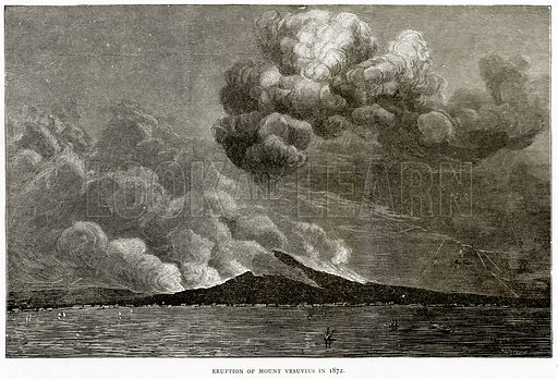 Eruption of Mount Vesuvius in 1872. Illustration from Italian Pictures by Samuel Manning (Religious Tract Society, c 1880).