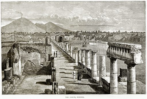 The Forum, Pompeii. Illustration from Italian Pictures by Samuel Manning (Religious Tract Society, c 1880).