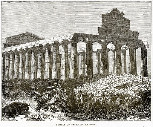 Temple of Vesta at Paestum. Illustration from Italian Pictures by Samuel Manning (Religious Tract Society, c 1880).