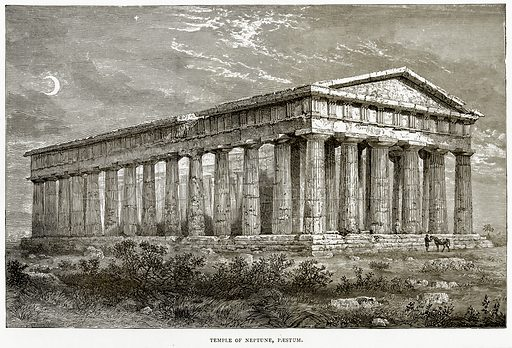 Temple of Neptune, Paestum. Illustration from Italian Pictures by Samuel Manning (Religious Tract Society, c 1880).