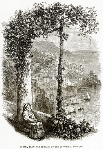 Amalfi, from the Terrace of the Suppressed Convent. Illustration from Italian Pictures by Samuel Manning (Religious Tract Society, c 1880).
