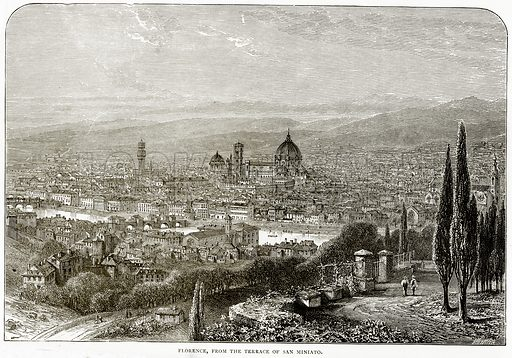Florence, from the Terrace of San Miniato. Illustration from Italian Pictures by Samuel Manning (Religious Tract Society, c 1880).