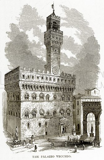 The Palazzo Vecchio. Illustration from Italian Pictures by Samuel Manning (Religious Tract Society, c 1880).
