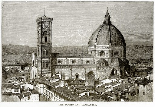 The Duomo and Campanile. Illustration from Italian Pictures by Samuel Manning (Religious Tract Society, c 1880).