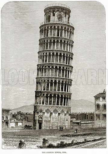 The Leaning Tower, Pisa. Illustration from Italian Pictures by Samuel Manning (Religious Tract Society, c 1880).