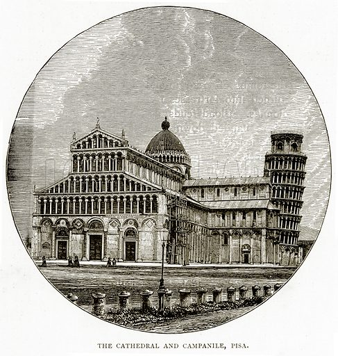 The Cathedral and Campanile, Pisa. Illustration from Italian Pictures by Samuel Manning (Religious Tract Society, c 1880).