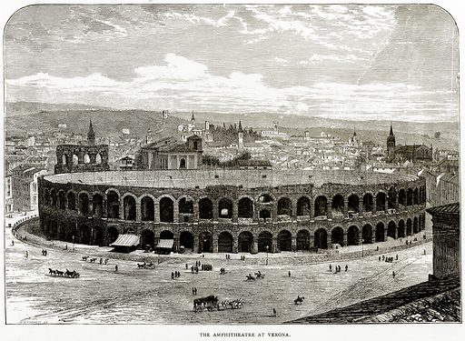 The Amphitheatre at Verona. Illustration from Italian Pictures by Samuel Manning (Religious Tract Society, c 1880).
