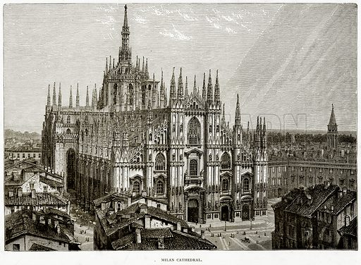 Milan Cathedral. Illustration from Italian Pictures by Samuel Manning (Religious Tract Society, c 1880).