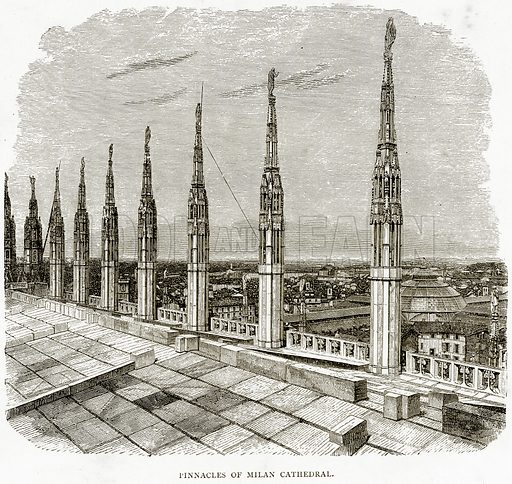 Pinnacles of Milan Cathedral. Illustration from Italian Pictures by Samuel Manning (Religious Tract Society, c 1880).