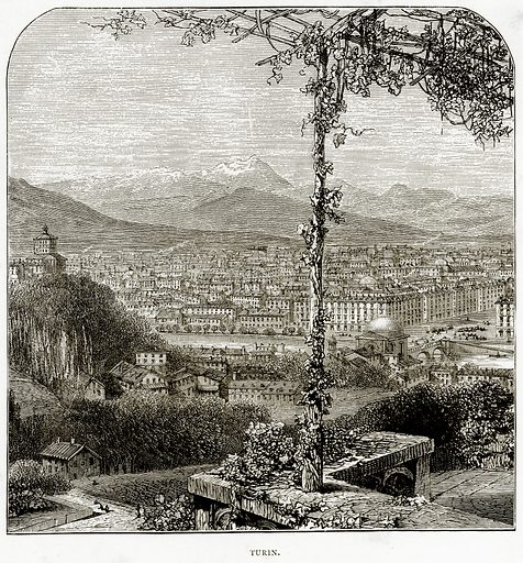 Turin. Illustration from Italian Pictures by Samuel Manning (Religious Tract Society, c 1880).
