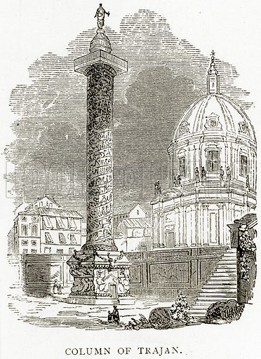 Column of Trajan. Illustration from Italian Pictures by Samuel Manning (Religious Tract Society, c 1880).