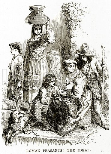 Roman Peasants: The Ideal. Illustration from Italian Pictures by Samuel Manning (Religious Tract Society, c 1880).