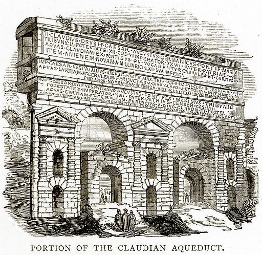 Portion of the Claudian Aqueduct. Illustration from Italian Pictures by Samuel Manning (Religious Tract Society, c 1880).