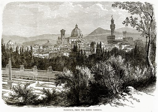 Florence, from the Boboli Gardens. Illustration from Italian Pictures by Samuel Manning (Religious Tract Society, c 1880).
