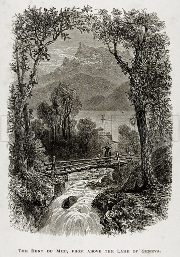 The Dent du Midi, from the Lake of Geneva. Illustration from Swiss Pictures by Samuel Manning (Religious Tract Society, c 1870).