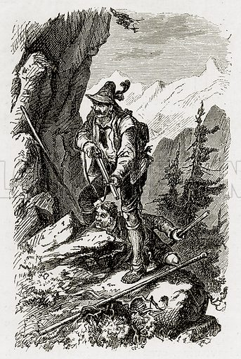 Hunters is Switzerland. Illustration from Swiss Pictures by Samuel Manning (Religious Tract Society, c 1870).