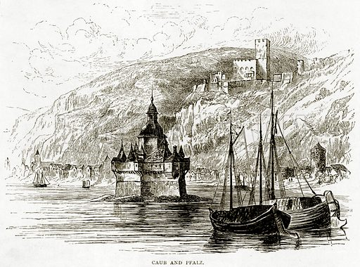 Caub and Pfalz. Illustration from Swiss Pictures by Samuel Manning (Religious Tract Society, c 1870).