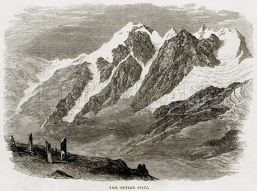 The Ortler Spitz. Illustration from Swiss Pictures by Samuel Manning (Religious Tract Society, c 1870).