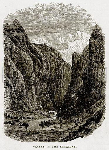 Valley in the Engadine. Illustration from Swiss Pictures by Samuel Manning (Religious Tract Society, c 1870).