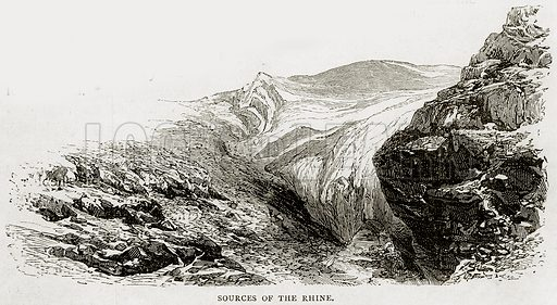 Sources of the Rhine. Illustration from Swiss Pictures by Samuel Manning (Religious Tract Society, c 1870).