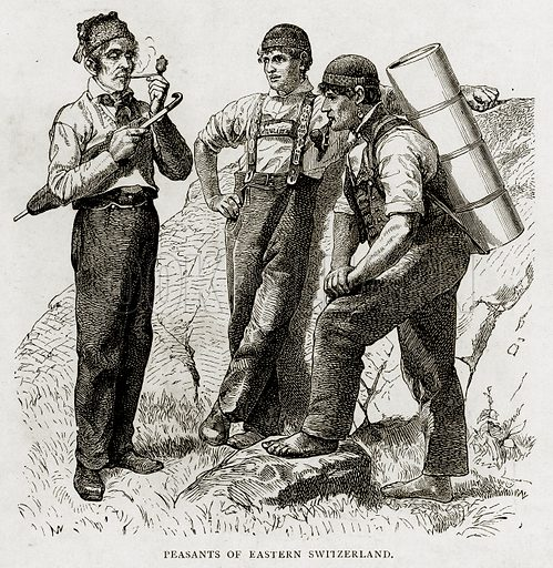Peasants of Eastern Switzerland. Illustration from Swiss Pictures by Samuel Manning (Religious Tract Society, c 1870).