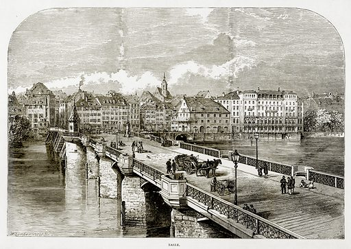 Basle. Illustration from Swiss Pictures by Samuel Manning (Religious Tract Society, c 1870).
