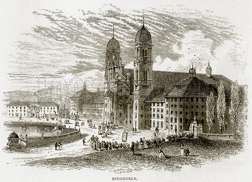 Einsiedeln. Illustration from Swiss Pictures by Samuel Manning (Religious Tract Society, c 1870).