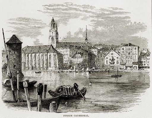 Zurich Cathedral. Illustration from Swiss Pictures by Samuel Manning (Religious Tract Society, c 1870).