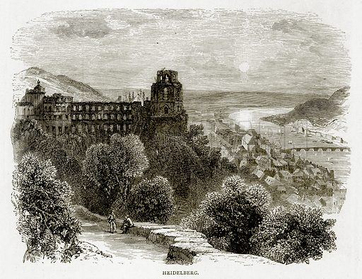 Heidelberg. Illustration from Swiss Pictures by Samuel Manning (Religious Tract Society, c 1870).