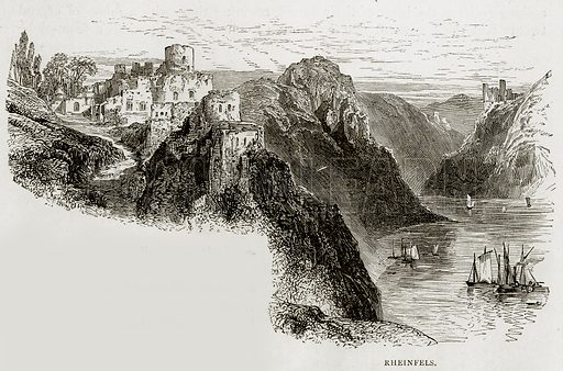 Rheinfels. Illustration from Swiss Pictures by Samuel Manning (Religious Tract Society, c 1870).
