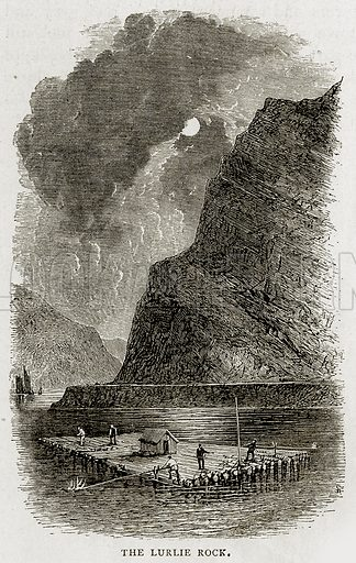 The Lurlie Rock. Illustration from Swiss Pictures by Samuel Manning (Religious Tract Society, c 1870).