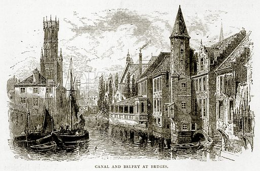 Canal and Belfry at Bruges. Illustration from Swiss Pictures by Samuel Manning (Religious Tract Society, c 1870).