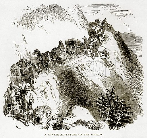 A Winter Adventure on the Simplon. Illustration from Swiss Pictures by Samuel Manning (Religious Tract Society, c 1870).